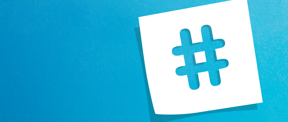 White hashtag on a blue background